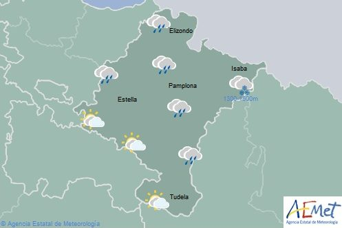 Lluvias en el noroeste de Navarra, temperatura máximasen aumento
