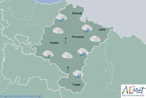 Lluvias débiles en Navarra que tienden a remitir, temperaturas sin cambios
