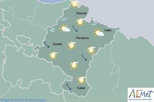 En Navarra intervalos nubosos con temperaturas máximas en descenso ligero
