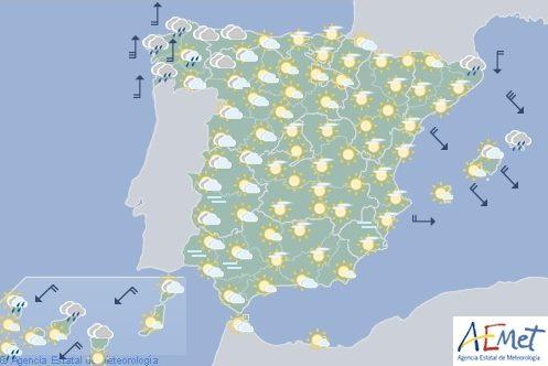 Hoy en España, precipitaciones en Rias Bajas de Galicia y aumento de nubosidad