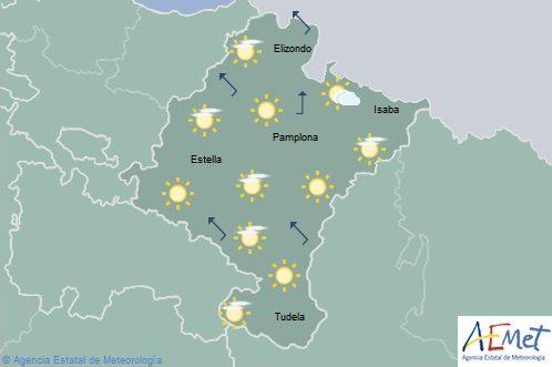 En Navarra poco nuboso o despejado, máximas en aumento.