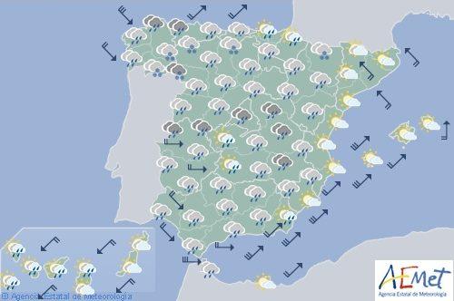 Hoy en España, precipitaciones fuertes en noroeste