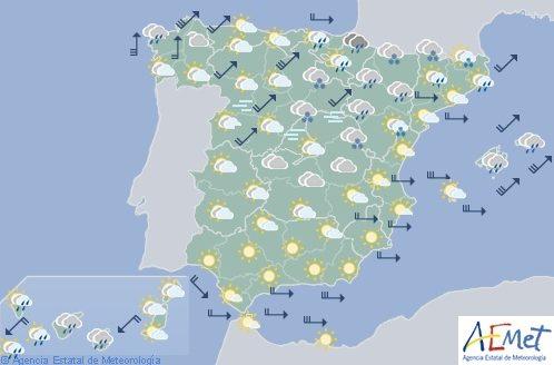 Hoy en España, lluvias en Galicia y viento fuerte en Galicia, Cantábrico y Baleares