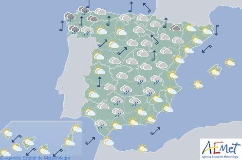Hoy en España, cielo cubierto y lluvias generalizadas