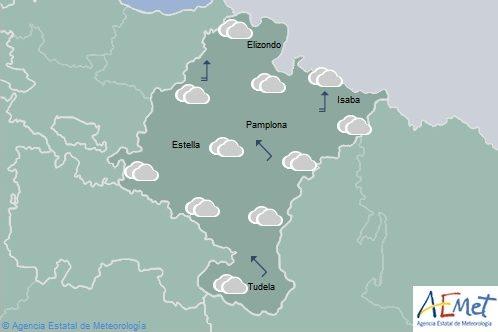 Nuboso o cubierto con posibilidad de precipitaciones en Navarra
