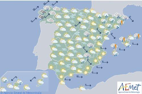 Hoy en España, precipitaciones en Galicia, fuertes en litoral catalán y Baleares