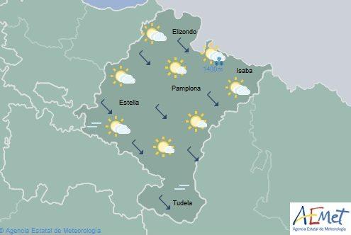 En Navarra intervalos de nubes con posibilidad de lluvias débiles y dispersas