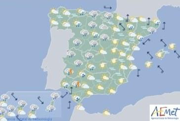 Hoy en España, precipitaciones en el oeste de Andalucía y en el oeste del Sistema Central