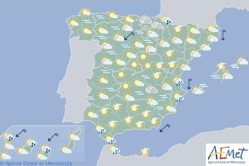 Hoy en España tiempo estable con lluvias ocasionales en la vertiente cantábrica oriental