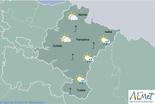 Cielo poco nuboso con algún chubasco débil en el sureste de Navarra