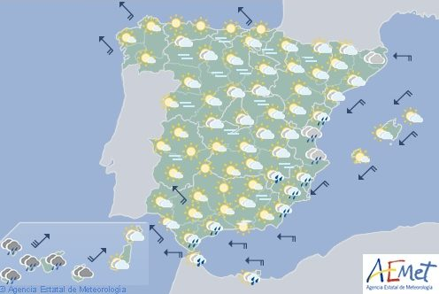 Hoy en España, probabilidad de rachas de viento muy fuertes en zonas de Canarias