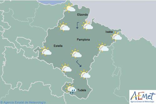 Alguna precipitación débil por Navarra, temperaturas máximas con pocos cambios