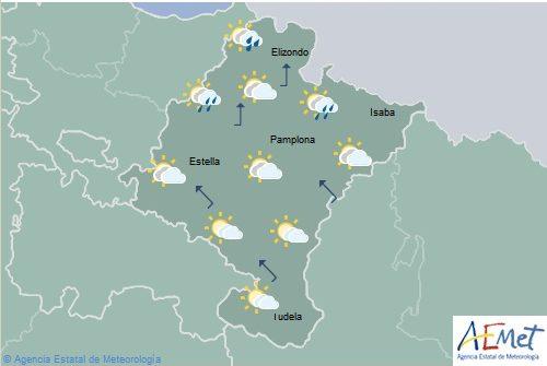 Lluvias débiles dispersas en Navarra, temperaturas máximas en aumento