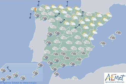Hoy en España, lluvias persistentes en Canarias, Galicia y área del Estrecho
