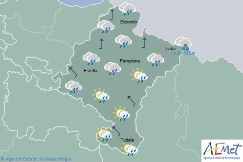En Navarra lluvias débiles y chubascos ocasionales