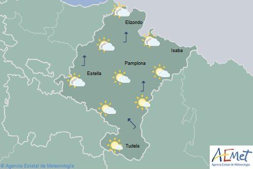 Intervalos nubosos en Navarra con temperaturas máximas sin cambios
