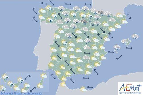 Hoy en España, viento fuerte hoy en el norte, este, Baleares y Melilla, caída de las temperaturas