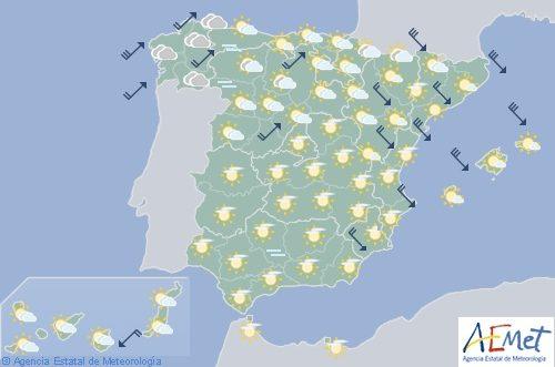 Hoy en España, intervalos de viento fuerte en Galicia, Tarragona y Castellón