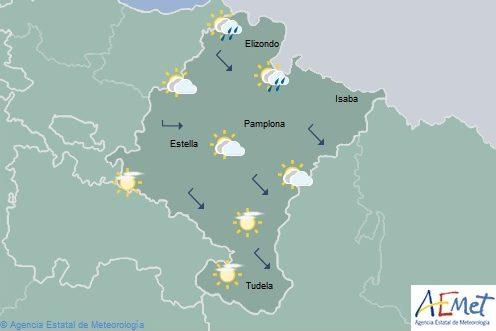 Nubes altas en Navarra, lluvia en el tercio norte con temperaturas en ascenso