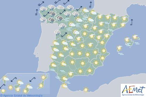 Hoy en España, precipitaciones localmente fuertes en Galicia con rachas de viento