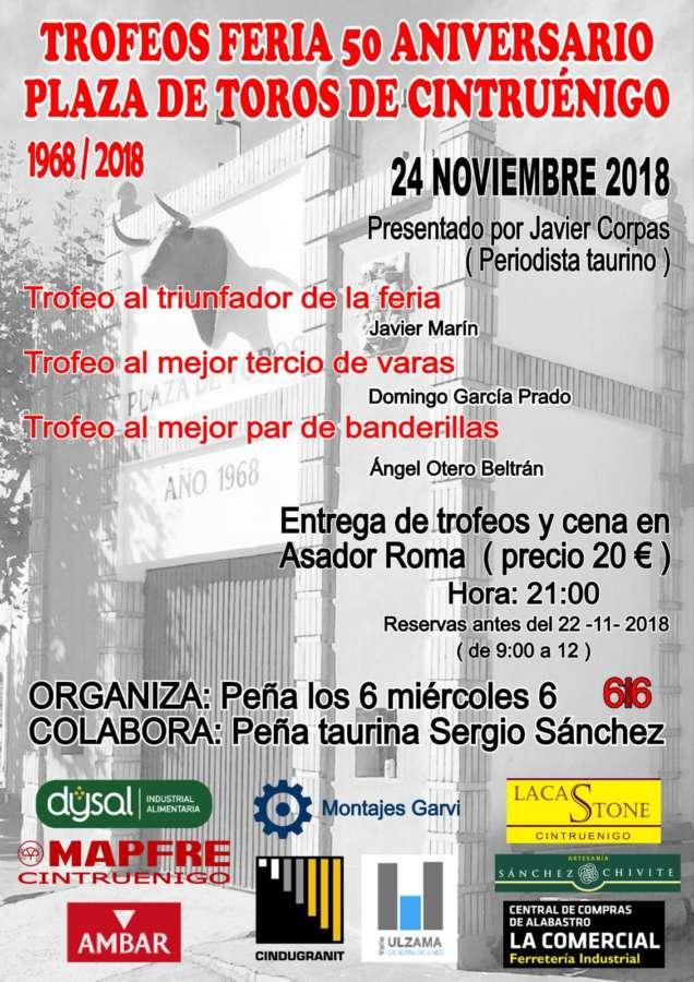 AGENDA: 24 de noviembre, en Cintruénigo (Navarra), Trofeos 50 Aniversario Plaza de Toros