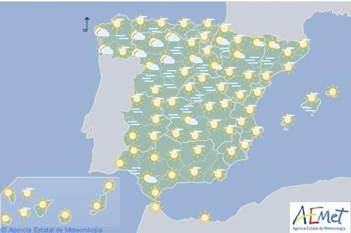 Hoy en España, lluvias persistentes en el oeste de Galicia con viento fuerte en el litoral gallego