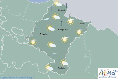 Intervalos nubosos en Navarra, temperaturas máximas con cambios ligeros