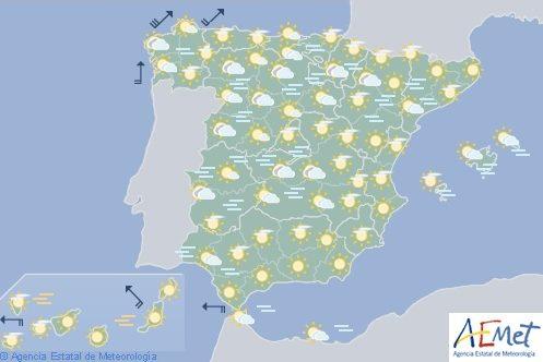 Hoy en España, cielo poco nuboso y temperaturas sin cambios