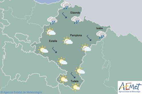 Lluvias débiles en el tercio norte de Navarra, temperaturas máximas en descenso