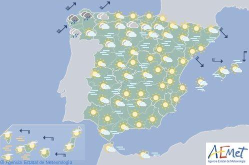 Hoy en España, viento fuerte en el litoral norte, nieblas persistentes en Meseta Norte, Cataluña y Aragón