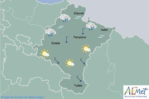 Muy nuboso o cubierto con lluvias débiles en el norte de Navarra