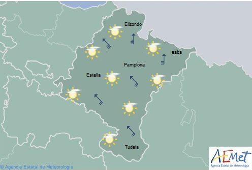 En Navarra temperaturas sin grandes cambios y alerta por viento de hasta 90Km/h