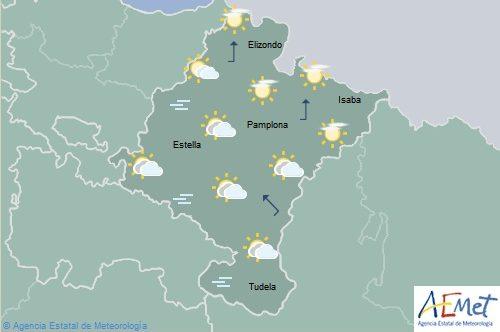 Poco nuboso en Navarra, temperaturas máximas en descenso