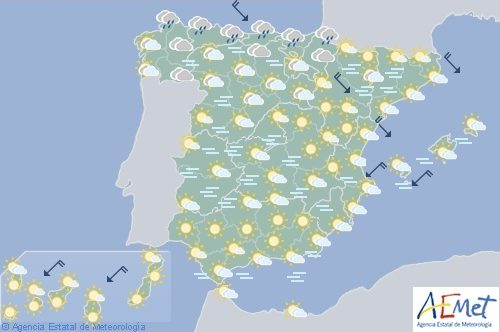 Hoy lluvias en el cantábrico y nieblas persistentes en casi todo España
