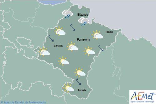 Nuboso con lluvias débiles en el noroeste de Navarra