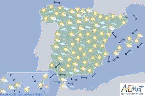 Hoy en España, cielo despejado con viento fuerte en Galicia y Estrecho