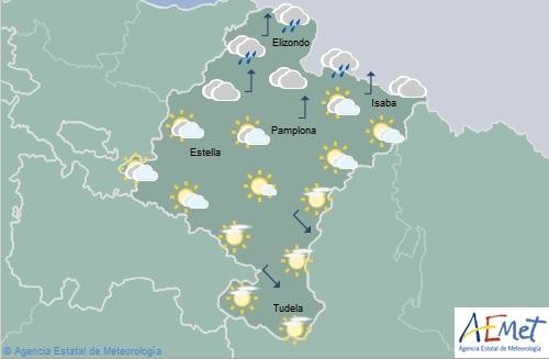 Nuboso en el tercio norte de Navarra con lluvias débiles ocasionales