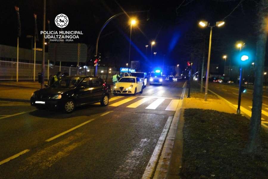 Tres heridos leves en 7 accidentes ayer en Pamplona