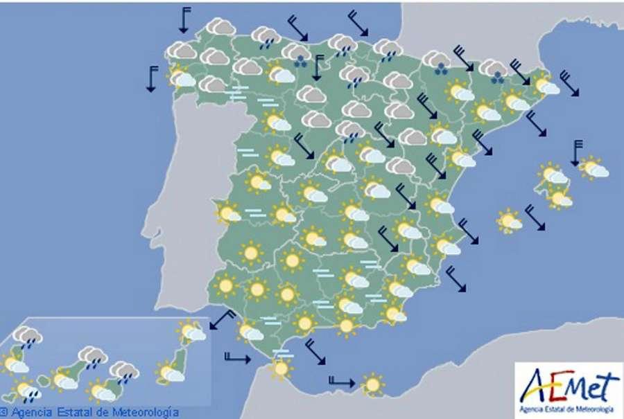 Hoy en España, lluvias menos intensas en el norte y nevadas en Pirineos