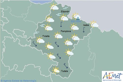 En Navarra temperaturas en descenso, cota de nieve bajando a 500-700 metros