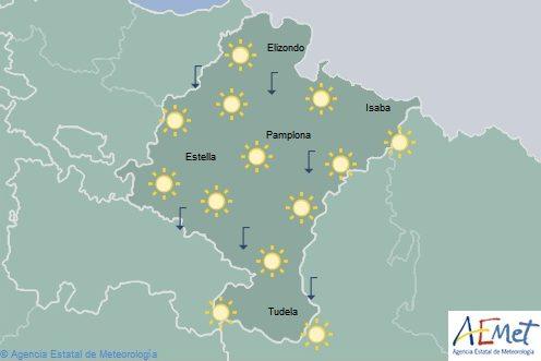Poco nuboso o despejado en Navarra