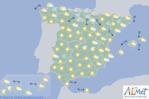 Hoy en España temperaturas bajas y heladas en buena parte del interior