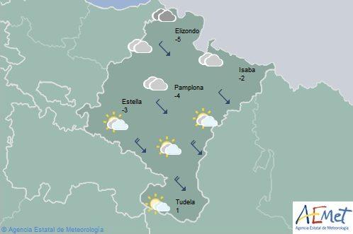 Cielo nuboso en el noroeste de Navarra, temperaturas en descenso