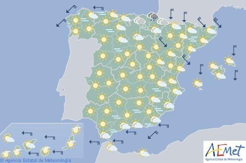 Hoy en España, aumento de la nubosidad y precipitaciones en el extremo norte peninsular