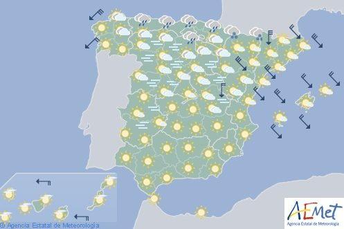 Hoy en España, temperaturas mínimas significativamente bajas, cota de nieve 700-900 metros