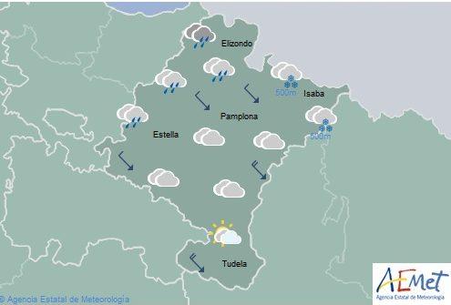 En Navarra temperaturas sin cambios y cota de nieve bajando a 300-600 metros