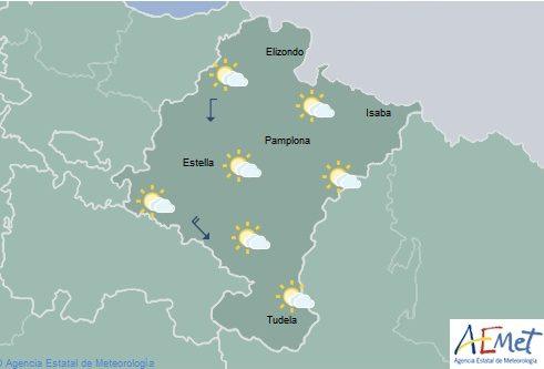 En Navarra temperaturas máximas en descenso, nieve en sierras altas del Pirineo