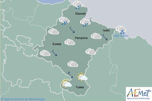 En Navarra lluvia débil en la Vertiente Cantábrica y viento intenso en la Ribera