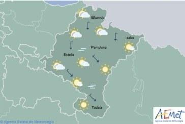 Poco nuboso en Navarra con temperaturas sin cambios