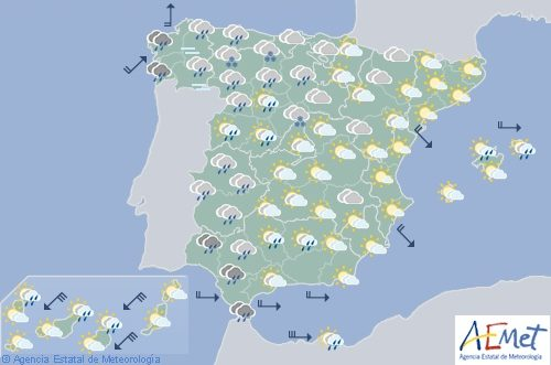 Hoy en España, precipitaciones en el oeste de Galicia y viento fuerte
